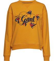 d1. embroidery sweat sweat-shirt trui geel gant