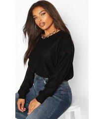 plus boxy scoop neck sweater, black
