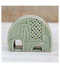 celadon ceramic oil warmer, 'celadon elephant' (thailand)