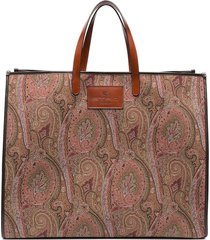 etro maxi paisley print tote bag - brown