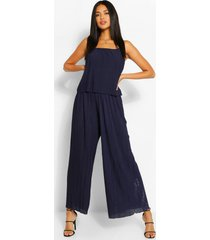 plisse strappy jumpsuit, navy