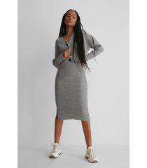 trendyol knit set cardigan skirt - grey