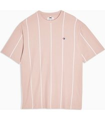 mens pink stripe pique organic cotton t-shirt