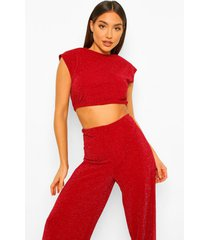 mix & match glimmende crop top met schouderpads, berry