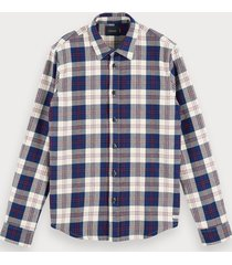 scotch & soda geruit flanellen overhemd | regular fit
