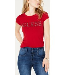 guess short sleeve contrast bling logo t-shirt
