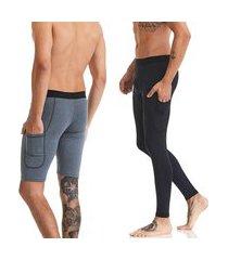 kit calça e bermuda segunda pele microfibra compressão lavibora - preto e cinza