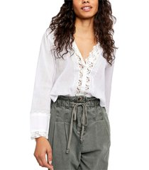 women's free people clemence button-up blouse, size large - ivory