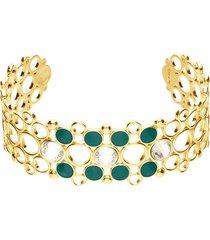 bracciale rigido in ottone dorato con cristalli e smalto verde per donna