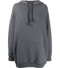 acne studios logo patch oversized hoodie - grey
