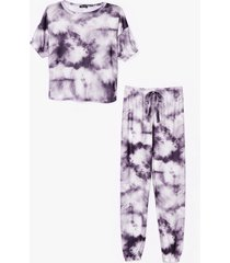 womens count on tee tie dye joggers lounge set - charcoal