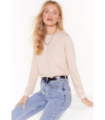 womens relaxed long sleeve t-shirt with boat neckline - nude