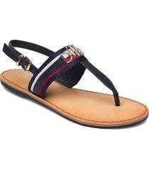 shimmery ribbon flat sandal shoes summer shoes flat sandals blå tommy hilfiger