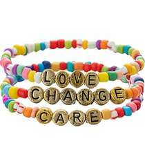 luxe love, care & change 3-piece goldtone & enamel stretch bracelet set