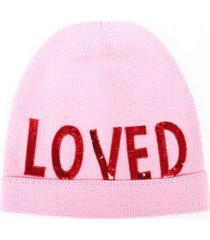 gucci loved beanie hat pink wool knit sequin red/pink sz: s