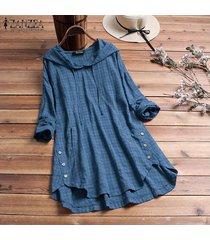 zanzea mujeres tela escocesa comprobar largo ocasional top de la camisa de la blusa asimétrica sudaderas con capucha plus -azul