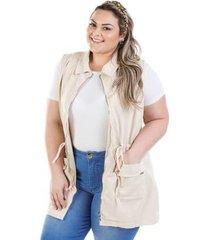 colete feminino jeans parka com zíper plus size