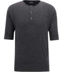 boss men's short-sleeve cashmere henley sweater