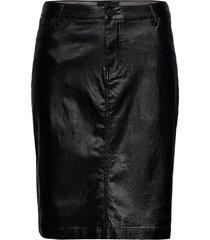 skirt sparkly plus close-fitting slit knälång kjol svart zizzi
