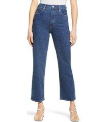 women's slvrlake london high waist crop straight leg jeans, size 32 - blue