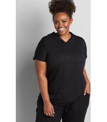 lane bryant women's livi short-sleeve hoodie with tie hem 34/36 black
