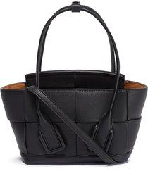 arco' intreccio leather shoulder bag
