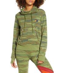 women's aviator nation ninja hoodie, size x-large - green