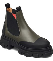 calf leather shoes chelsea boots grön ganni