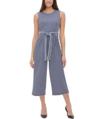 tommy hilfiger petite gingham-print cropped jumpsuit