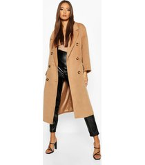 brushed double breasted belted wool look coat, camel