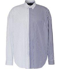 colourblock stripe slogan embroidered button-up shirt