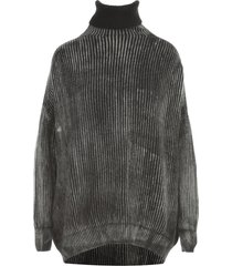 avant toi high neck braiding stitch pullover with tonal effect