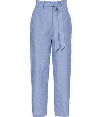 linnen 7/8-broek in paperbag-style met bindceintuur, jeansblauw 38