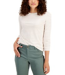 style & co striped long-sleeve t-shirt, created for macy's