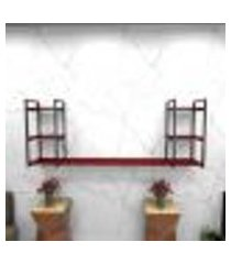 estante estilo industrial sala aço preto 180x30x68cm cxlxa mdf vermelho modelo ind30vrsl