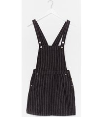 womens be stripe back denim overall dress - black