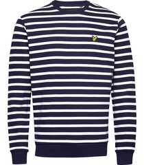 breton stripe sweatshirt sweat-shirt trui blauw lyle & scott