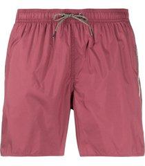 emporio armani short de natação com listras e logo - rosa