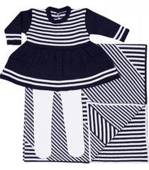 conjunto vestido com manta passion tricot azul-marinho
