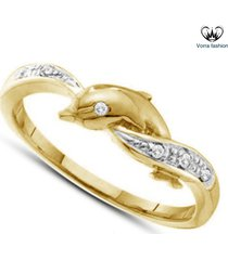 diamond round cut dolphin engagement wedding ring yellow gold plated 925 silver