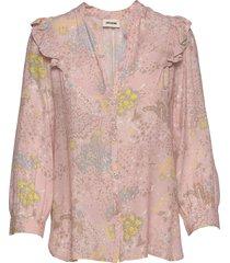 tygg print glam rock chemise blus långärmad rosa zadig & voltaire