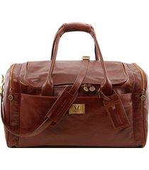 tuscany leather tl141281 tl voyager - borsone viaggio in pelle con tasche laterali - misura grande marrone