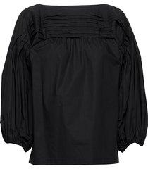 mukura solid shirt blus långärmad svart marimekko