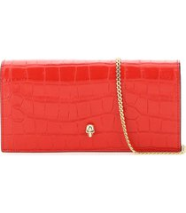 alexander mcqueen croco print leather clutch with skull
