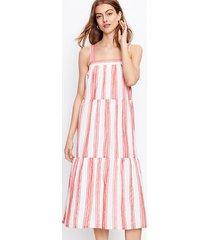 loft petite stripe tiered square neck midi dress