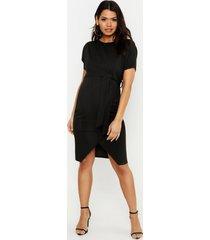 positiekleding midi-jurk met sluiting taille en vleermuismouwen, zwart