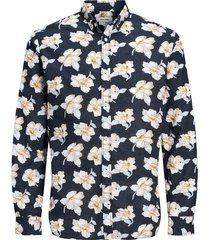jack & jones premium heren overhemd donker bloem print poplin