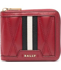 bally striped band quilted wallet - red