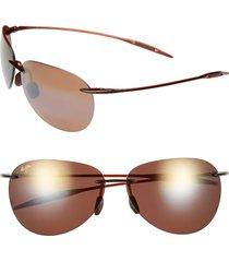 women's maui jim sugar beach 62mm polarizedplus2 rimless sunglasses - rootbeer
