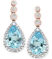 aquarius by effy aquamarine (3-3/8 ct. t.w.) & diamond (1/3 ct. t.w.) drop earrings in 14k rose & white gold